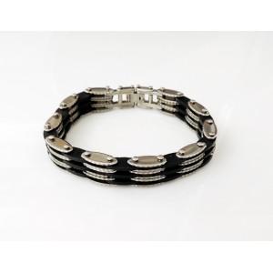 Bracelet pour homme avec maillons crantés sur 4 rangs et silicone noir