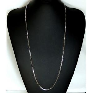 Chaîne pour pendentif en métal argenté, maillons cubiques