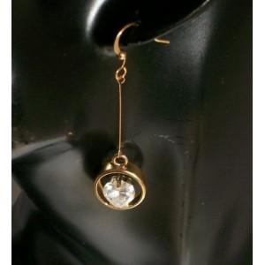Boucles cristal blanc, métal doré