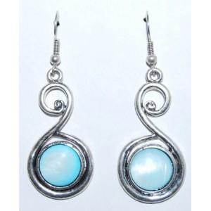 Boucles pierre turquoise, métal argenté