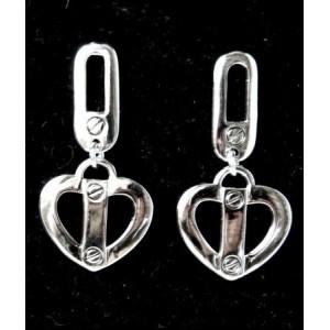 Boucles acier 316 L, forme coeur orné de riverts