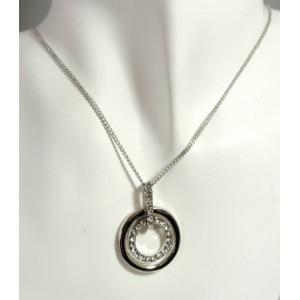 Parure métal argenté,collier 2 cercles sur chaîne fine en métal avec boucles d'oreilles en strass.