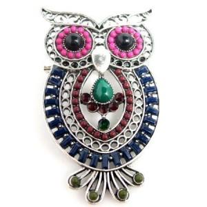 Broche métal travaillé, forme hibou, pierres et perles en couleur