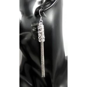 Boucles en argent 925, chaînes pendantes au travers d'un tube ajouré