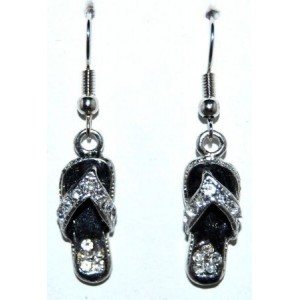 Boucles laque noire, strass, forme tongs