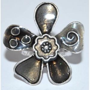 Bague émail gris taupe en forme de fleur, ajustable, femme