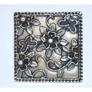 Bague émail gris taupe, forme carrée, ajustable
