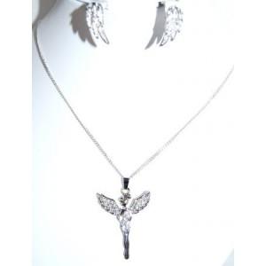 Parure métal argenté, collier pendentif fées avec cristaux blancs, boucles d'oreilles