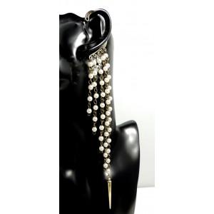 Bijou d'oreille,perles nacrées sur chaînes pendantes en métal doré