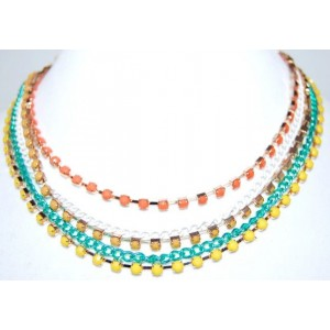 Collier pierres de couleur jaune et orange, 5 rangs, ras de cou femme