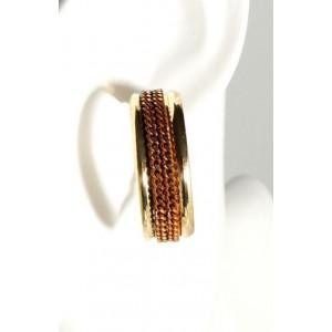 Boucles métal doré,créoles avec chaîne aplatie couleur marron