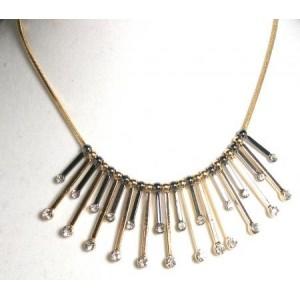 Collier métal or argent, lamelles ornées de strass
