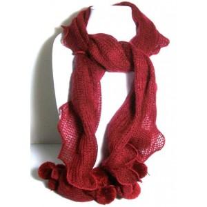 Echarpe en lainage rouge foncé
