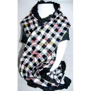 foulard châle noir à carreaux