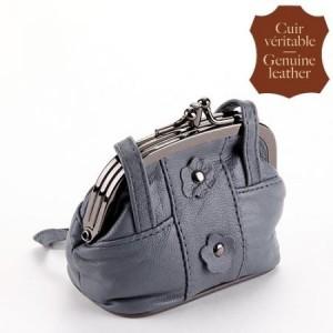 Porte-monnaie cuir, bourse cuir gris
