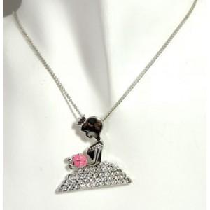 Parure métal argenté,collier pendentif princesse et boucles strass