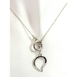 Parure métal argenté,collier duo rond avec boucles d'oreilles strass