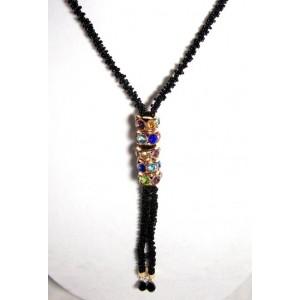 Collier perles noires et strass toutes couleurs
