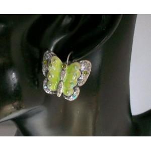 Boucles métal, papillon vert avec strass Temple Street