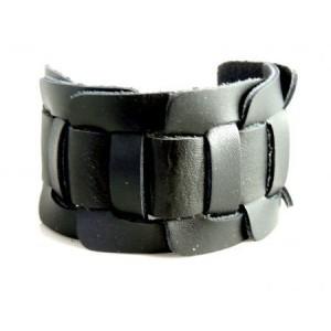 Bracelet cuir noir manchette homme