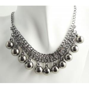 Collier métal argenté boules et chaînes, ras de cou femme