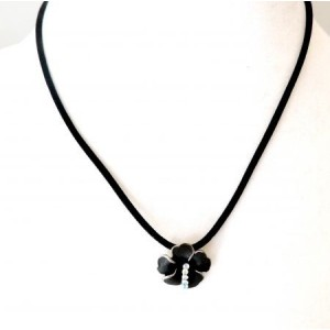 Collier métal noir fleur et strass blanc