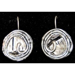 Boucles métal argenté patiné, spirale