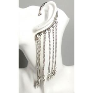 Bijou d'oreille en métal argenté chaînes pendantes