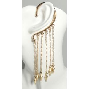 Bijou d'oreille en métal doré chaînes pendantes