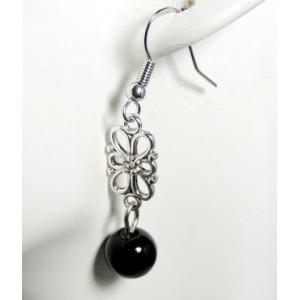Boucles métal fleur et perle noire