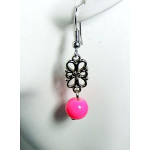 Boucles métal argenté fleur et perle rose