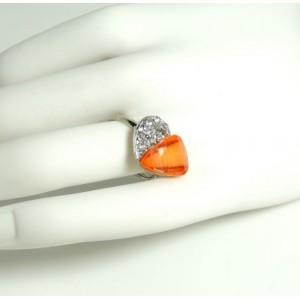 Bague métal argenté ajustable cœur orange et strass