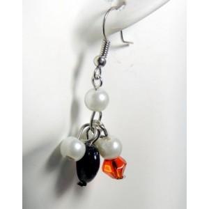 Boucles perles nacrées, perle orangée avec facettes et cœur noir pailleté