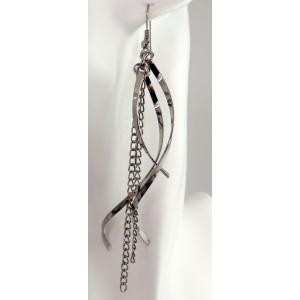 Boucles métal argenté longues et chaînettes