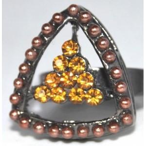 Bague perles et strasss ambrés, ajustable femme