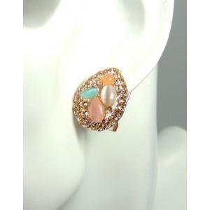 Boucles pierres opales et strass oreilles percées femme