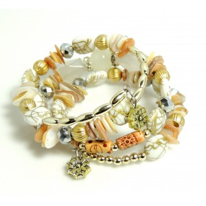 Bracelet avec des pierres blanches, perles dorées, résine, métal sur serpentin préformé, femme