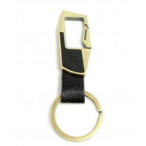 Porte-clés cuir noir et acier couleur bronze pour homme