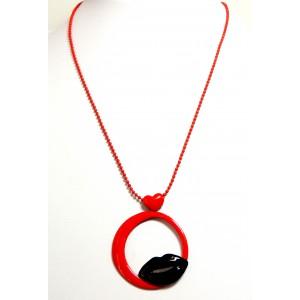 Collier métal rouge pop art, chaîne perlée, pendentif design