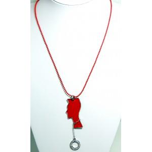Collier métal rouge pop art, chaîne perlée, pendentif design avec strass