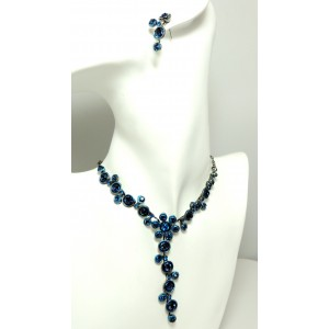 Parure cristaux bleus et métal laqué, collier et boucles d'oreilles