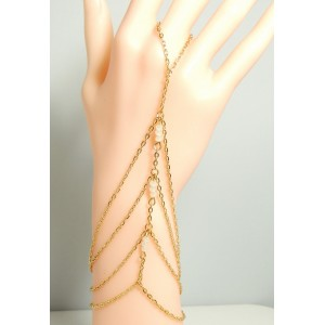 Bijou métal doré et perles blanches pour main, bague reliée