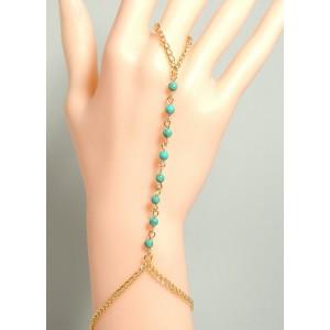 Bijou perles turquoise pour main, chaîne en métal doré reliée au doigt
