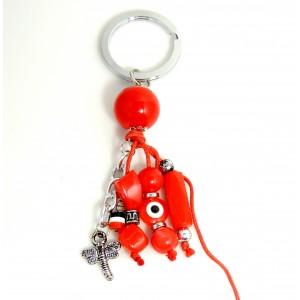Porte-clés d'inspiration grecque avec pierres en résine rouge et breloques variées