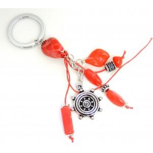 Porte-clés d'inspiration grecque avec pierres en résine rouge et breloque en métal argenté