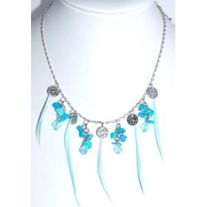 Collier plumes et pierres turquoises