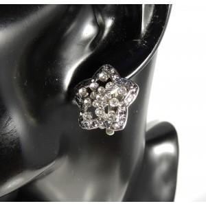 Boucles d'oreilles avec clips pour oreille non percée, métal argenté orné de strass