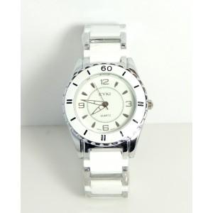 Montre unisexe, bracelet acier et résine blanche, cadran blanc, water resist de la marque Eyki