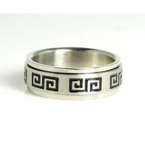Bague homme en acier 316 L, anti-stress avec motif grec, anneau tournant