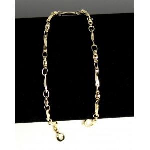 Chaîne de cheville en plaqué or, ornée de perles et de mailles rectangulaires biseautées